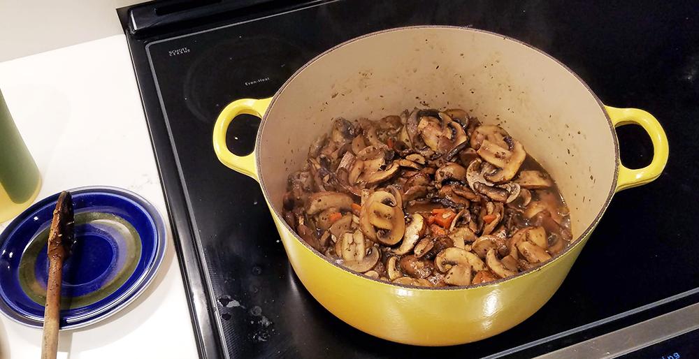 Vegan Cream of Mushroom Soup reducing down