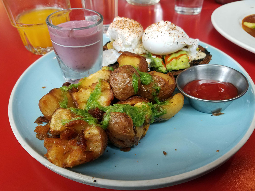 Hippie Toast, Avocado Toast with Poached Eggs and breakfast potatoes